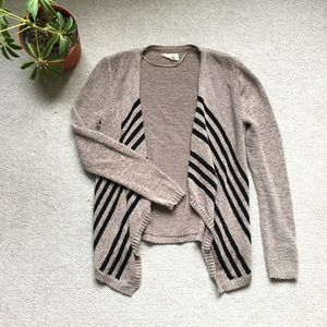 Tan & black striped open cardigan